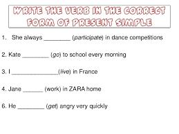 present tense 4th grade