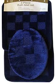 amazon com 3 piece navy pattern bathroom rug mat contour u0026 lid