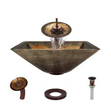 Vessel Sink Waterfall Faucet Vigo Glass Vessel Sink In Liquid Gold With Waterfall Faucet Set In