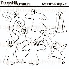 new ghost doodles digital clip art poppyhill creations