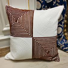 contemporary pillows for sofa contemporary geometeric chocolate white cord embroidery cushion