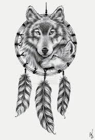 dreamcatcher wolf tattoo on half sleeve