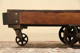 sold industrial salvage antique factory cart or coffee table
