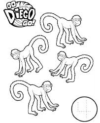Four Monkeys In Go Diego Go Coloring Page Netart Go Diego Go Coloring Pages