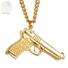 titanium gold necklace images Free shipping titanium steel gun pendants rock gold necklace charm jpg