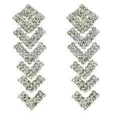clip on earrings uk clear triangle chandelier drop clip on earrings