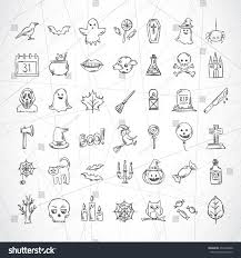 halloween hand drawn icons pumpkin candles stock vector 493494928