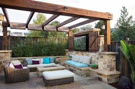 Backyard Theater Ideas Large Patio Ideas Mediterranean With Stacked Wall San