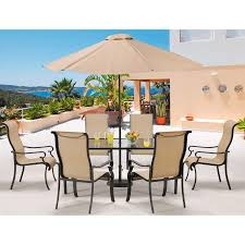 brigantine 7 piece glass top dining set with 9 ft table umbrella