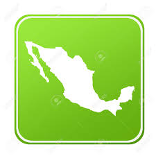 Mexico On Map by Silhouetted Map Of Mexico On Green Eco Button Isolated On White