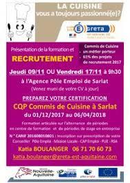 commis de cuisine emploi recrutement le 17 novembre pour le cqp commis de cuisine à sarlat