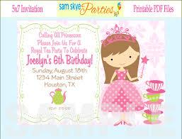 princess birthday party invitation wording cimvitation