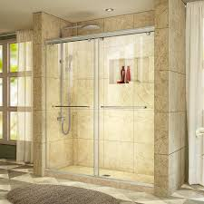 Lowes Frameless Shower Doors Shop Dreamline Charisma 56 In To 60 In W Frameless Brushed Nickel