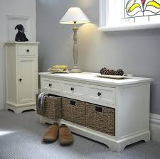 bench with storage drawers white wooden hallway storage bench and