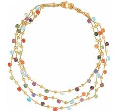 multi colored stones necklace images Marco bicego paradise triple row gemstone necklace jpg