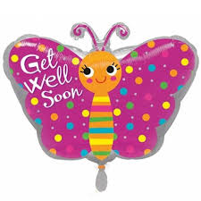 balloons get well soon get well soon pink butterfly foil balloon balloons co uk