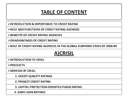 Credit Ratings Table by Bond Credit Rating