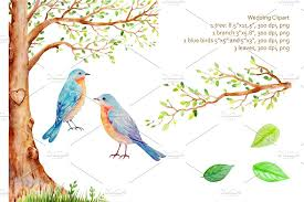Wedding Trees Watercolor Wedding Tree Blue Birds Illustrations Creative Market