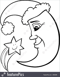 moon and star christmas coloring page illustration