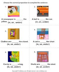 write prepositions to complete each sentence worksheet turtle diary