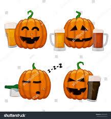 set drunk pumpkins happy halloween pumpkins stock vector 495622678