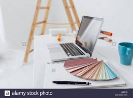 home makeover renovation and decoration laptop on a desktop with