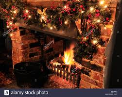 Large Christmas Decorations For Pubs by A Roaring Fire In A Traditional English Pub At Christmas The Red