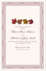 fall wedding programs maple leaf pattern autumn wedding programs and church programs for