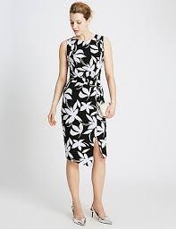 cheap m u0026s collection floral drape bodycon dress black mix