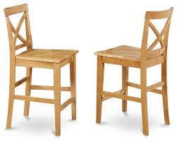 x back stools with wood counter seat oak finish set of 2