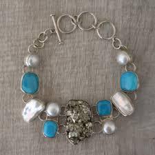 turquoise pearls bracelet images Pyrite turquoise pearl silver bracelet sicaru crafts jpg