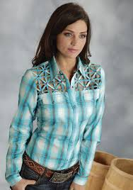 Plus Size Cowgirl Clothes Roper Ladies Turquoise Plaid Fancy Yokes Ls Western Shirt