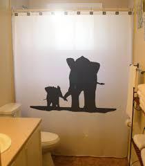 mother baby elephant shower curtain family kids bathroom decor