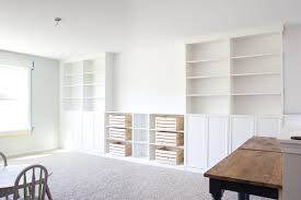 diy built ins from ikea bookcases orc week 2 bless u0027er house