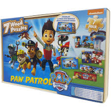 halloween jigsaw puzzle nickelodeon paw patrol 7 wood jigsaw puzzles in wood storage box