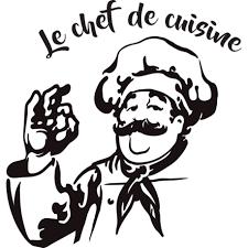 le chef en cuisine sticker chef de cuisine avec un personnage et plateau décorécébo