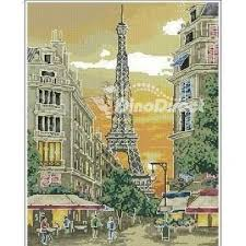 scenery eiffel tower counted cross stitch kit dinodirect
