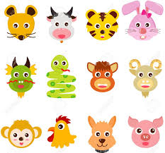 a set of colorful and cute icons twelve chinese zodiac animals