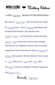 Wedding Mad Lib Template Wedding Mad Libs Word Template For A Unique Guest Book Ceremony