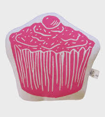 block print cupcake pillow home decor lighting artgoodies block print cupcake pillow small and huggable this cupcake pillow is a charming accent