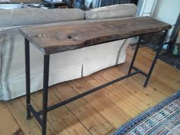 wood and iron sofa table live edge oak console with iron base console tables sideboards