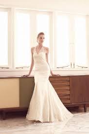 sleeveless illusion halter neck elegant mermaid lace wedding dress