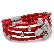stainless steel charm bracelet images Braided pu red leather flower bracelet crystal clover stainless jpg