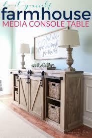 Farmhouse Console Table Diy Farmhouse Media Console Table The Turquoise Home