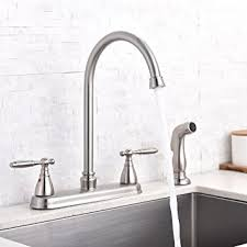 Stainless Steel Kitchen Faucets Shaco Brushed Nickel Two Handle Stainless Steel Kitchen Faucet