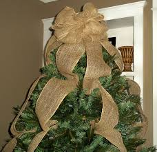 burlap christmas tree topper bow with streamers natural burlap