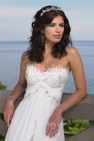 empire waist ivory chiffon beach wedding dress lace strapless