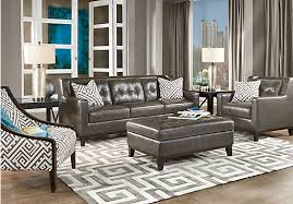 Gray Leather Sofa Gray Leather Living Room Furniture Khabars Net