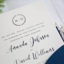 monogram wedding invitations navy blue laser cut pocket wedding invites swws027
