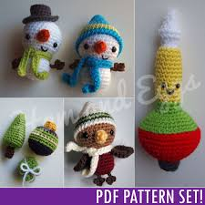 Amigurumi Christmas Ornaments - pdf amigurumi crochet christmas ornament set includes smiley